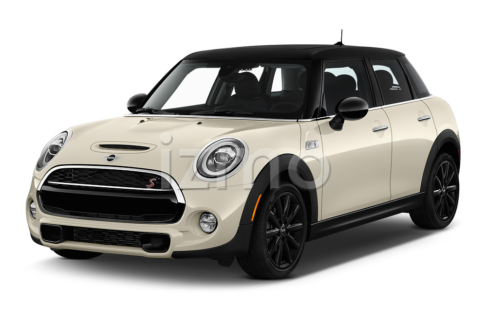2019 Mini Hardtop 4 Door Cooper S Signature 5 Door Hatchback angular front stock photos of front three quarter view