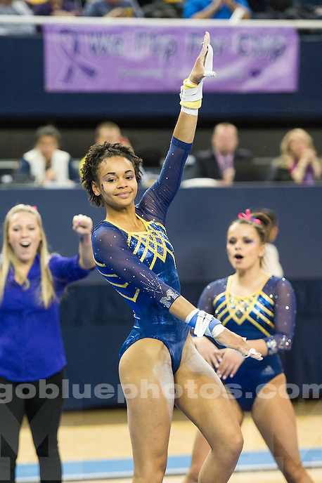The University of Michigan women's gymnastics team defeats Michigan State, 197.225-195.425, at Crisler Center in Ann Arbor, MI on February 14, 2016.