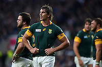 Eben Etzebeth of South Africa looks on during a break in play. Rugby World Cup Semi Final between South Africa and New Zealand on October 24, 2015 at Twickenham Stadium in London, England. Photo by: Patrick Khachfe / Onside Images