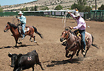 Chase Wortman and Kaleb Enniss compete in the double mugging event at the Minden Ranch Rodeo in Gardnerville, Nev., on Sunday, July 22, 2012..Photo by Cathleen Allison