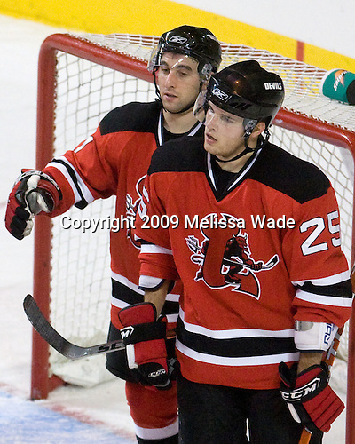 Stephen Gionta (Lowell - 11), Nick Palmieri (Lowell - 25) - The Lowell Devils defeated the Worcester Sharks 7-3 on Wednesday, November 11, 2009, at the DCU Center in Worcester, Massachusetts.