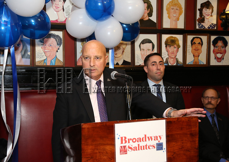 Tony DePaulo, Hal Goldberg and David Hyde Pierce attends The Broadway League and the Coalition of Broadway Unions and Guilds (COBUG) presents the 9th Annual Broadway Salutes at Sardi's on November , 2017 in New York City.