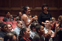 """A student asks a Northwestern Mutual representative about scholarships at the event, """"I Am Latino in America,"""" a national tour of conversations aimed at amplifying the Latino voice on critical community issues, hosted by Soledad O'Brien. October 15, 2015 in Thorne Hall.<br /> (Photo by Marc Campos, Occidental College Photographer)"""