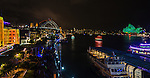 Sydney Harbour Bridge, Opera House and The Rocks during Vivid Light Festival, Sydney, NSW, Australia