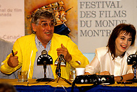 FILE PHOTO -   Gilles Carle<br />  et Chloee Sainte-Marie<br /> <br /> Festival des films du Monde de 1987<br /> <br /> <br /> Photo  :  Denis Alix - Agence Quebec Presse