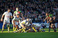 Morgan Parra of ASM Clermont Auvergne passes during the Heineken Cup Round 5 match between Harlequins and ASM Clermont Auvergne at the Twickenham Stoop on Saturday 11th January 2014 (Photo by Rob Munro)
