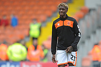 Blackpool's Armand Gnanduillet during the pre-match warm-up <br /> <br /> Photographer Kevin Barnes/CameraSport<br /> <br /> The EFL Sky Bet League One - Blackpool v Gillingham - Saturday 4th May 2019 - Bloomfield Road - Blackpool<br /> <br /> World Copyright © 2019 CameraSport. All rights reserved. 43 Linden Ave. Countesthorpe. Leicester. England. LE8 5PG - Tel: +44 (0) 116 277 4147 - admin@camerasport.com - www.camerasport.com