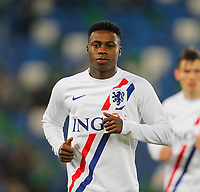 16th November 2019; Windsor Park, Belfast, Antrim County, Northern Ireland; European Championships 2020 Qualifier, Northern Ireland versus Netherlands; Quincy Promes of Netherlands warms up prior to kickoff - Editorial Use