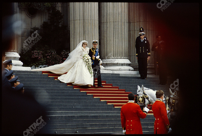 Prince Charles and Princess Diana leave St. Paul's Cathedral following their wedding. London, England, July 29, 1981.