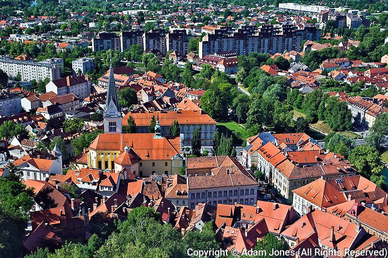 Elevated view of Ljubljana, Slovenia from Ljubljana Castle (Ljubljanski grad)