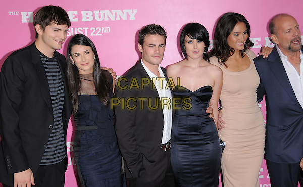 "ASHTON KUTCHER, DEMI MOORE, MICAH ALBERTI, RUMER WILLIS, EMMA HEMING & BRUCE WILLIS.The Columbia Pictures' Premiere of ""House Bunny"" held at The Mann Village Theatre in Westwood, California, USA..August 20th, 2008.half length married husband wife blue suit jacket grey gray striped stripes top black dress family mother mom mum daughter couple dad father ex divorced looking down strapless ruffled ruffles .CAP/DVS.©Debbie VanStory/Capital Pictures."