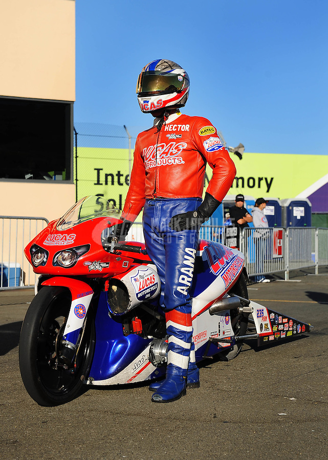 Jul. 24, 2009; Sonoma, CA, USA; NHRA pro stock motorcycle rider Hector Arana during qualifying for the Fram Autolite Nationals at Infineon Raceway. Mandatory Credit: Mark J. Rebilas-