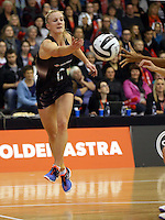 14.09.2016 Silver Ferns Shannon Francois in action during the Taini Jamison netball match between the Silver Ferns and Jamaica played at Arena Manawatu in Palmerston North. Mandatory Photo Credit ©Michael Bradley.