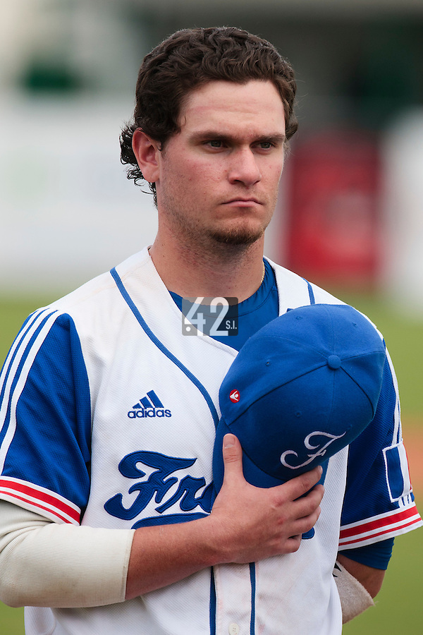 19 August 2010: Jorge Hereaud of Team France stands during the national anthem during France 7-6 win over Slovakia, at the 2010 European Championship, under 21, in Brno, Czech Republic.