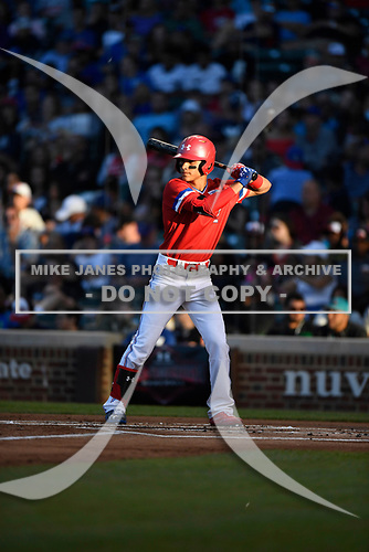 Alek Thomas (2) of Mount Carmel High School in Chicago, Illinois during the Under Armour All-American Game presented by Baseball Factory on July 29, 2017 at Wrigley Field in Chicago, Illinois.  (Mike Janes/Four Seam Images)