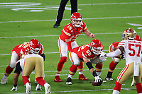 2nd February 2020, Miami Gardens, Florida, USA;   Kansas City Chiefs Quarterback Patrick Mahomes (15) under center during the second quarter of Super Bowl LIV on February 2, 2020 at Hard Rock Stadium in Miami Gardens
