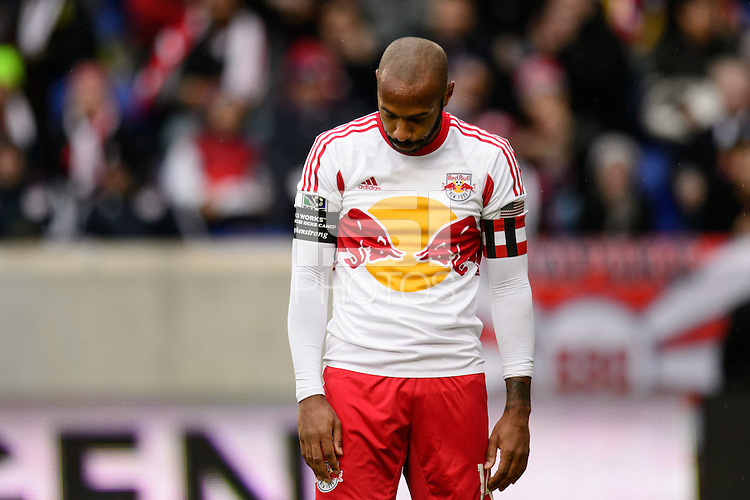 Thierry Henry (14) of the New York Red Bulls reacts to a call. The New York Red Bulls and Chivas USA played to a 1-1 tie during a Major League Soccer (MLS) match at Red Bull Arena in Harrison, NJ, on March 30, 2014.