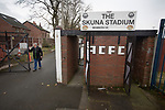 Atherton Collieries 1, Boston United 0, 23/11/19. Alder House, FA Trophy, third qualifying round. A club official waiting by the entrance before Atherton Collieries played Boston United in the FA Trophy third qualifying round at the Skuna Stadium. The home club were formed in 1916 and having secured three promotions in five season played in the Northern Premier League premier division. This was the furthest they had progressed in the FA Trophy and defeated their rivals from the National League North by 1-0, Mike Brewster scoring a late winner watched by a crowd of 303 spectators. Photo by Colin McPherson.