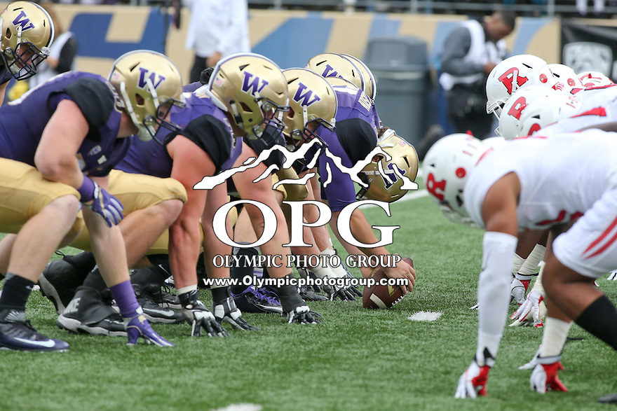03 September 2016:  Washington players line up against Rutgers at the line of scrimmage. Washington defeated Rutgers 48-13 at the University of Washington in Seattle, WA.