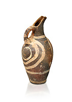 Minoan decorated Kamares  style jug with swirl pattern, Poros cemetery 1800-1650 BC; Heraklion Archaeological  Museum, white background.