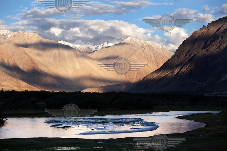 The Nubra Valley. The Himalayas, in particular the Ladakh region, is growing increasingly popular with India's newly emergent middle and affluent classes. Mountains in the background.