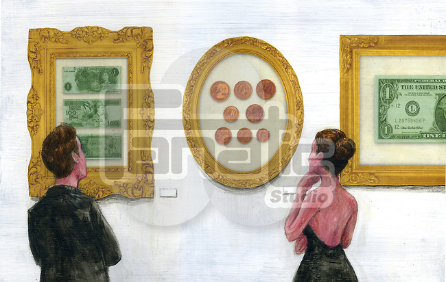 Illustration of people watching precious currencies in art gallery