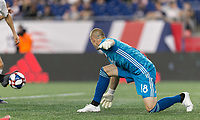 FOXBOROUGH, MA - JUNE 27: Brad Knighton #18 helplessly watches the own goal during a game between Philadelphia Union and New England Revolution at Gillette Stadium on June 27, 2019 in Foxborough, Massachusetts.
