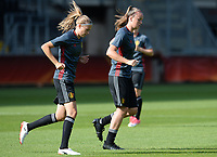 20170719 - BREDA , NETHERLANDS :  Belgian Tine De Caigny (r) and Julie Biesmans (left) pictured during Matchday -1 training session of the Belgian national women's soccer team Red Flames on the pitch of NAC BREDA , on wednesday 19 July 2017 in stadion Rat Verlegh in Breda . The Red Flames are at the Women's European Championship 2017 in the Netherlands. PHOTO SPORTPIX.BE | DAVID CATRY