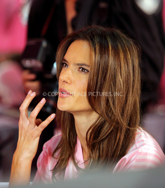 WWW.ACEPIXS.COM<br /> <br /> November 10 2015, New York City<br /> <br /> Model Alessandra Ambrosio backstage prior to the 2015 Victoria's Secret Runway Show on November 10 2015 in New York City. The show will broadcast on December 8 2015 on CBS.<br /> <br /> <br /> By Line: Philip Vaughan/ACE Pictures<br /> <br /> ACE Pictures, Inc.<br /> tel: 646 769 0430<br /> Email: info@acepixs.com<br /> www.acepixs.com