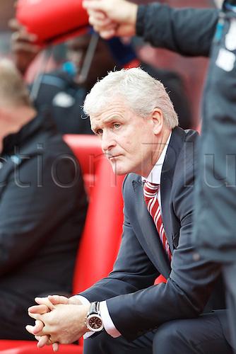 02.04.2016. Britannia Stadium, Stoke, England. Barclays Premier League. Stoke City versus Swansea City.  Stoke manager Mark Hughes