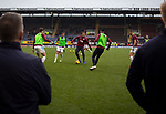 Home players taking part in the pre-match warm up before Burnley hosted Everton in an English Premier League fixture at Turf Moor. Founded in 1882, Burnley played their first match at the ground on 17 February 1883 and it has been their home ever since. The visitors won the match 5-1, watched by a crowd of 21,484.