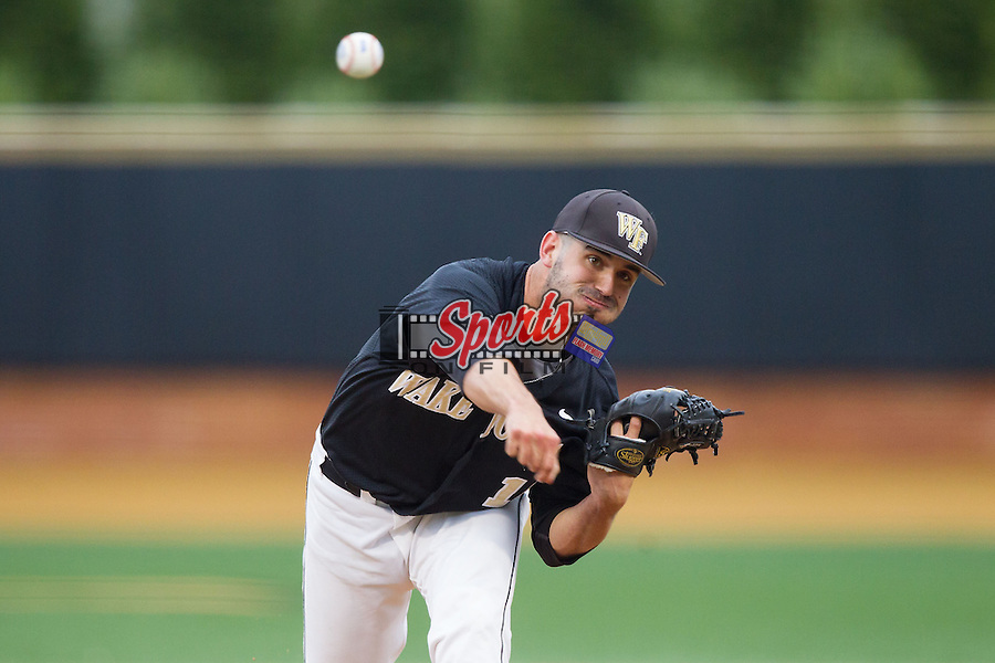 Wake Forest Demon Deacons relief pitcher Aaron Fossas (18) in action against the Florida State Seminoles at Wake Forest Baseball Park on April 19, 2014 in Winston-Salem, North Carolina.  The Seminoles defeated the Demon Deacons 4-3 in 13 innings.  (Brian Westerholt/Sports On Film)