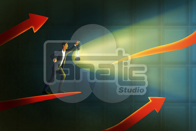 Illustrative image of businessman holding lantern on arrow sign representing solution seeker