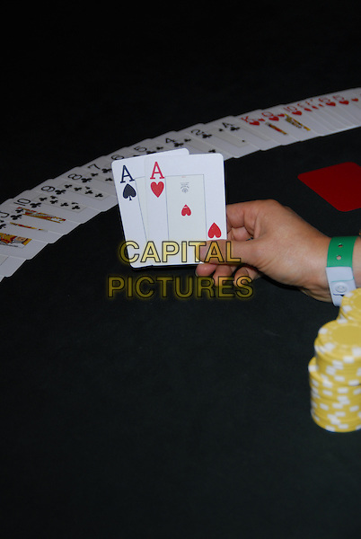 Poker Table and playing cards.atmosphere gv general view gamble gambling chips deck spades hearts.CAP/CJ.©Chris Joseph/Capital Pictures.