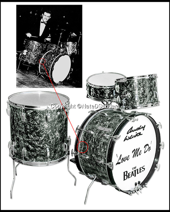 BNPS.co.uk (01202 558833)<br /> Pic: NateDSanders/BNPS<br /> <br /> The unique diamond pearl pattern on each Ludwig drum set proves the authenticity of the drums.<br /> <br /> The drum kit used on the Beatles' first single 'Love Me Do' has emerged for sale for the first time for &pound;200,000.<br /> <br /> The Ludwig instrument was used by veteran session drummer, Andy White, during a three hour session at EMI Studios at Abbey Road in 1962.<br /> <br /> It is being sold by LA-based auctioneers, Nate D Sanders.