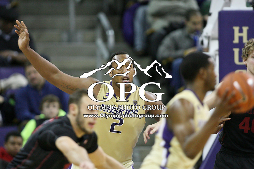 February 12, 2014:   Washington's Perris Blackwell against Stanford.  Washington defeated Stanford 64-60 at Alaska Airlines Arena in Seattle, Washington.