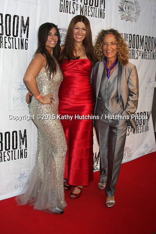 """LOS ANGELES - JUL 23:  Patricia Lauriet, Carolin Von Petzholdt, Ursel Walldorf at the """"The Boom Boom Girls of Wrestling"""" Premiere at the Downtown Independent Theater on July 23, 2015 in Los Angeles, CA"""