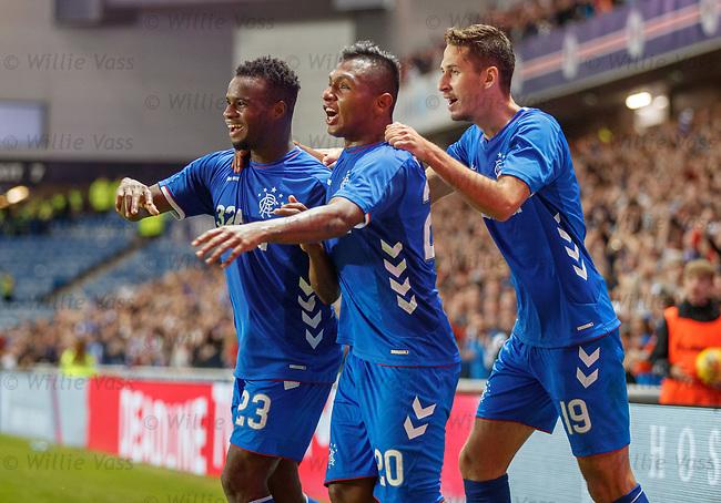 09.08.18 Rangers v Maribor: Lassana Coulibaly, Alfredo Morelos and Nikola Katic