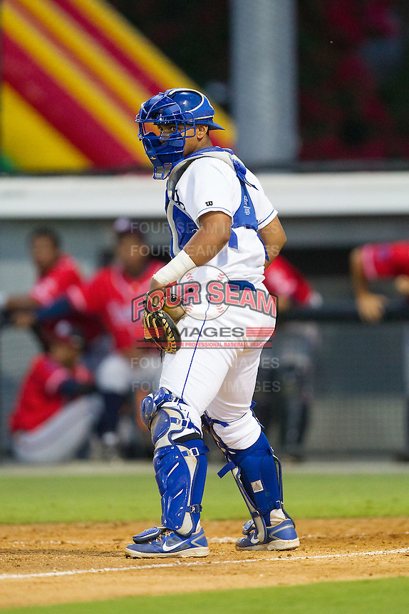 Burlington Royals catcher Xavier Fernandez (4) on defense against the Danville Braves at Burlington Athletic Park on July 5, 2014 in Burlington, North Carolina.  The Royals defeated the Braves 5-4.  (Brian Westerholt/Four Seam Images)