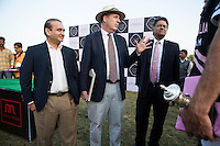 (L-R) Jewelry designer Nirav Modi, Dr Lachlan Strahan of the Australian High Commission, and Argyle Diamonds Managing Director Nik Senapati share a light conversation with the polo players after the Argyle Pink Diamond Cup, organised as part of the 2013 Oz Fest in the Rajasthan Polo Club grounds in Jaipur, Rajasthan, India on 10th January 2013. Photo by Suzanne Lee