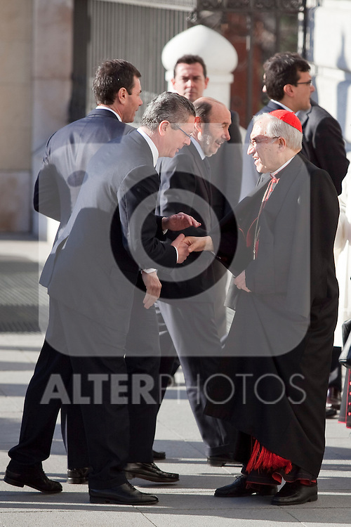 Spain Justice Minister Alberto Ruiz Gallardon and Spanish cardinal Rouco Varela attend the 11M March 11, 2004 terrorist attempt remember mass at Almudena Cathedral in Madrid, Spain. March 11, 2014. (ALTERPHOTOS/Victor Blanco)