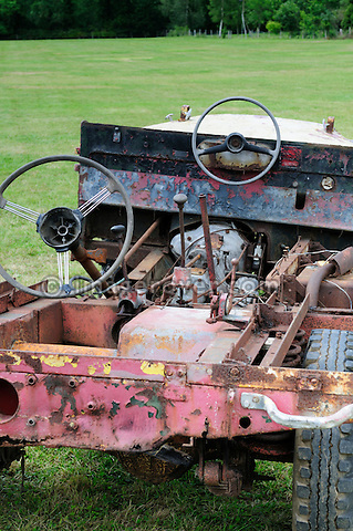 Remains of the famous Bertram Mills Land Rover Series 1 80in that the elephant used to ride in. Dunsfold Collection of Land Rovers Open Day 2011, Dunsfold, Surrey, UK. --- No releases available, but releases may not be necessary for certain uses. Automotive trademarks are the property of the trademark holder, authorization may be needed for some uses.