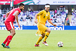 Massimo Luongo of Australia (R) is followed by Saeed Almurjan of Jordan (L) during the AFC Asian Cup UAE 2019 Group B match between Australia (AUS) and Jordan (JOR) at Hazza Bin Zayed Stadium on 06 January 2019 in Al Ain, United Arab Emirates. Photo by Marcio Rodrigo Machado / Power Sport Images