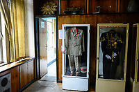 ETHIOPIA , Addis Ababa, , old palace of emperor Haile Selassie, today ethnographical museum of Institute for ethiopian studies, University of Addis Abeba, showcase with uniforms of the emperor