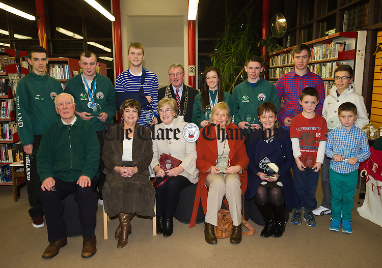 Award recipients; Front from left; Micheal O Faoleain, Valerie Sweeney Ruth English (representing Rachel English), Alice O Loughlin(representing Aisling O Loughlin), Brid Walsh (representing Orla Walsh), Colin Kerins and Dylan O Brien. Back from left; David Ryan, Caimin Murphy, Aaron Cunningham, Mayor Greg Duff, Leona O Shea, Darren Mc Namara, Seamus Mc Mahon and Gearoid Mc Mahon, at the Liosta Na Laochra Awards in Shannon. Photograph by John Kelly.