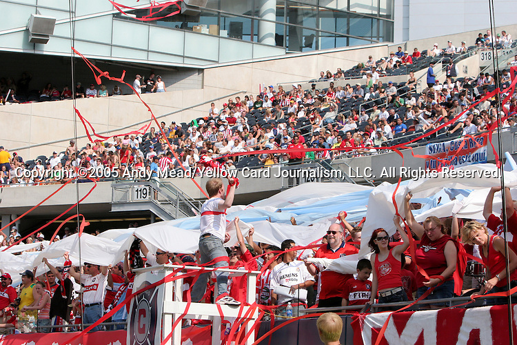 "16 July 2005: Chicago's supporters, known collectively as ""Section 8"", cheer on their team. The Chicago Fire and Columbus Crew tied 1-1 at Soldier Field in Chicago, Illinois in a regular season Major League Soccer game."