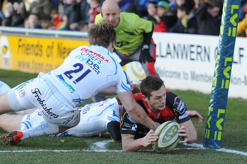 Newport Gwent Dragons' Jason Tovey scores his sides fourth try <br /> <br /> Photographer Craig Thomas/CameraSport<br /> <br /> Rugby Union - European Rugby Challenge Cup Pool 3 - Newport Gwent Dragons v Exeter Chiefs - Sunday 1st February  2015 - Rodney Parade - Newport <br /> <br /> &copy; CameraSport - 43 Linden Ave. Countesthorpe. Leicester. England. LE8 5PG - Tel: +44 (0) 116 277 4147 - admin@camerasport.com - www.camerasport.com