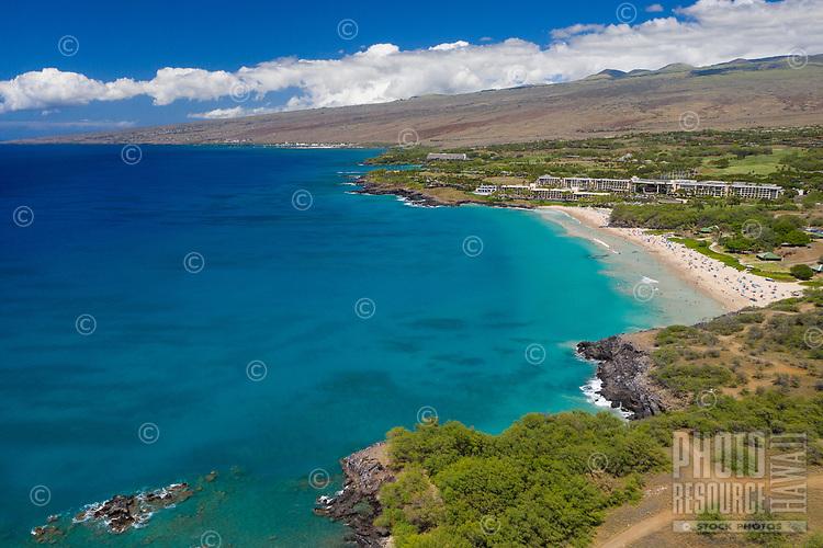 An aerial view of Hapuna Beach, Kona, Big Island of Hawai'i.