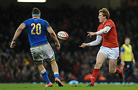 Wales Rhys Patchell whips the ball wide <br /> <br /> Photographer Ian Cook/CameraSport<br /> <br /> 2018 NatWest Six Nations Championship - Wales v Italy - Sunday 11th March 2018 - Principality Stadium - Cardiff<br /> <br /> World Copyright &copy; 2018 CameraSport. All rights reserved. 43 Linden Ave. Countesthorpe. Leicester. England. LE8 5PG - Tel: +44 (0) 116 277 4147 - admin@camerasport.com - www.camerasport.com