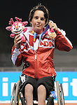 November 17 2011 - Guadalajara, Mexico:  Christy Campbell after receiving her Broze Medal in the 100m - T34 in the Telmex Athletic's Stadium at the 2011 Parapan American Games in Guadalajara, Mexico.  Photos: Matthew Murnaghan/Canadian Paralympic Committee